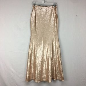 Lucy Paris Champagne Sequin Mermaid Maxi Skirt